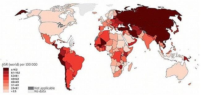 Статистика по раку желудка в мире